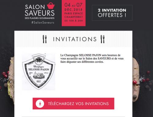 Salon saveurs des plaisirs gourmands invitation 2015 Déc.
